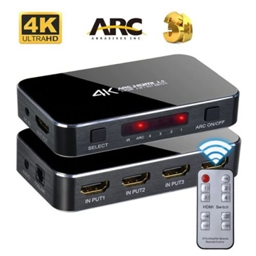 Слика на 4K HDMI SWITCH 4XPORT ARC 3D HDCP HDR10 1080P 4KX2K HDTV