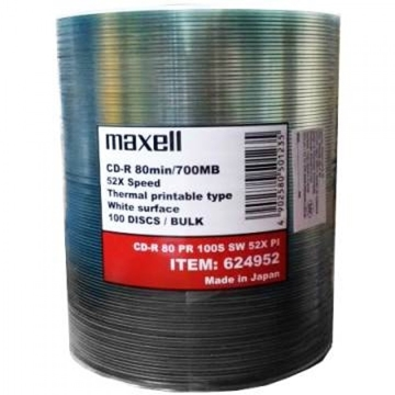 Слика на MAXELL CD-R 80 PINTABLE 100PCS SW 52X PI05 MADE IN JAPAN THERMAL PRINTABLE