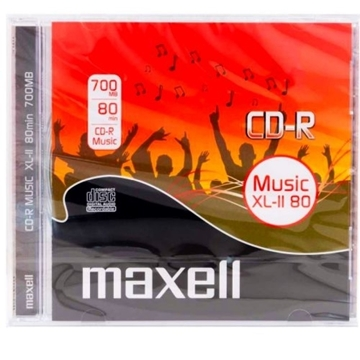 Слика на MAXELL CD-R MUSIC 1 PACK 10MM TRANSPARENT JEWEL CASE 624880.40.TW