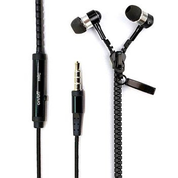 Слика на ZIPPER EARPHONES WITH MICROPHONE METALLIC FOR SMARPHONE BLACK